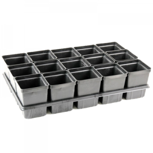 Plastic plug tray with square pots insert.